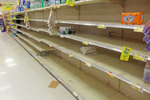Picture of empty grocery store shelves